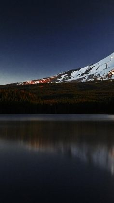 Snow Mountain, Lake, Dusk, Landscape