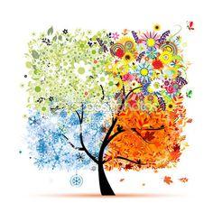 Vier Jahreszeiten - Frühling, Sommer, Herbst, Winter. Kunst Baum schön für Ihr Design — Stockillustration #10765405