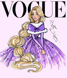 Ilustrações de moda   Princesas Disney na capa da Vogue
