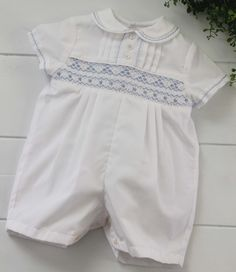 69e3fb2b8 Beautiful heirloom boys Christening romper with blue smocking by Sarah  Louise. Classic baby boys dressy. Hiccups Childrens Boutique