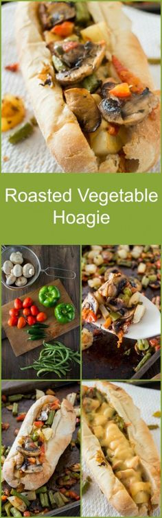 Roasted Vegetable Hoagie - Perfect Football Food for Vegetarians!  #GameTimeClean #ad