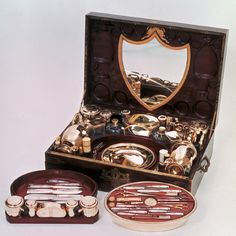 A necessaire de voyage of Princess Pauline Bonaparte-Borghese. Not surprising to find quite a bit of cosmetics and supplies inside.