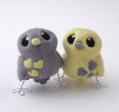 Needlefelted Pair of Birds, yellow and Grey wedding cake topper @etsy #handmade made by @Melanie Ann Green