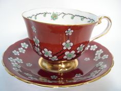 Rare Antique 1940's Royal Chelsea  tea cup and saucer, Hand painted tea cup and saucer set, Maroon Red Tea cup and saucer set. by AntiqueAndCrafts on Etsy