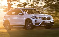 Download wallpapers BMW X1, crossovers, 2018 cars, sDrive18i, new X1, motion blur, BMW