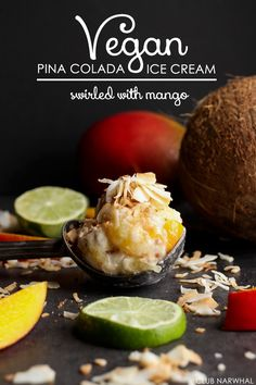 Vegan Pina Colada Ice Cream Swirled with Mango | Tropical paradise in dessert form! #icecream
