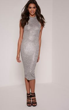 Turtle Neck Silver Midi Dresses
