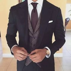 Black suit, grey vest, maroon tie.. men's suit.. love this
