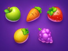 Fruit Icons, Food Icons, Game Ui Design, Icon Design, Flat Design, Design Design, Casual Art, 2d Game Art, Game Props