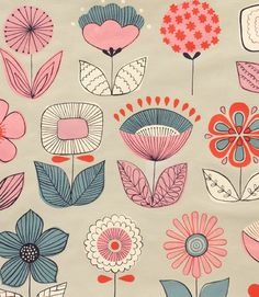Fun art project -- have the girls design their own flowers based on this print. (Alexander Henry - Collections)