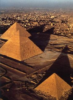 bird's eye view of the pyramids in Cairo, Egypt