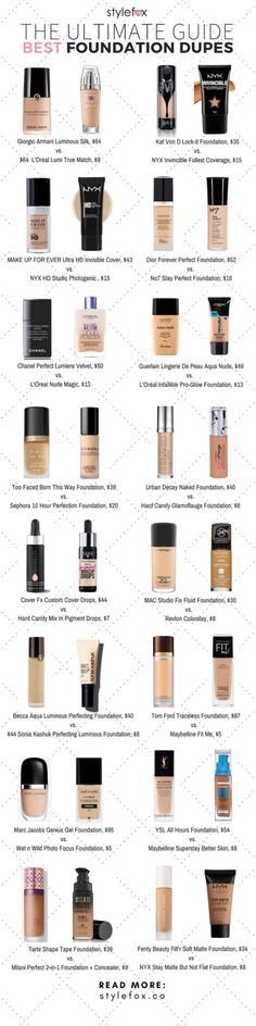 The ultimate guide to the best Foundation Dupes - Bath and Body Care,Makeup,Skin Care,Nails. Beauty Make-up, Beauty Dupes, Beauty Makeup Tips, Love Makeup, Beauty Skin, Makeup Looks, Beauty Hacks, Basic Makeup, Makeup Kit