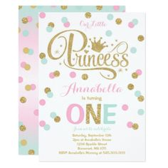 #Princess 1st Birthday Invitation Pink Mint Gold - #birthdayinvitation #birthday #party #invitation #cool #parties #invitations