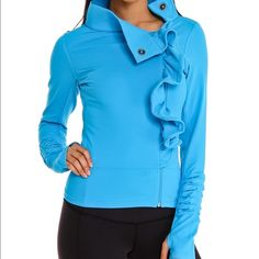 Karma Yoga San Suu Jacket - Teal - NWT Fitted, hip length statement jacket. Asymmetrical ruffle detail. Great yoga/loungewear brand. BNWT - cute detail on sleeves plus thumb holes. Breathable moisture wicking material.  Nylon/spandex; machine wash. By Karma; made in Canada Women's Active & Swim. (Photo credit: stock photo Nordstrom.com) Karma Jackets & Coats