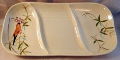 Never have seen this pattern before! Mid-Century Red Wing Pottery Relish Tray - Goldfinch Design