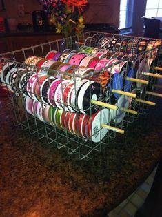 Illustrious Supplies Craft For Kids - Craft Supplies Wallpaper Ribbon Organization, Ribbon Storage, Sewing Room Organization, Craft Room Storage, Craft Rooms, Storage Ideas, My Sewing Room, Sewing Rooms, Scrapbook Storage