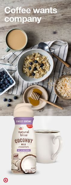Shop this recipe's ingredients at Target. Mix 2 cups cooked quinoa, ¼ cup COFFEEMate Natural bliss All Natural Sweet Crème Coconut Milk Coffee Creamer, ¼ cup toasted unsweetened flaked coconut, ½ teaspoon ground ginger, and almonds in a medium bowl. Spoon into bowls. Serve drizzled with honey and topped with berries.
