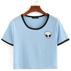 Women Hipster Harajuku Cute Stripe Short Sleeve Cotton Tshirts Crop Top Tee  Alien Embroidery T Shirt d16f78df6f9e