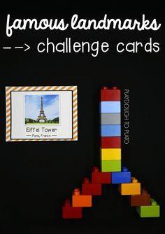 STEM Challenge: Build Famous Landmarks - Playdough To Plato Lego Activities, Steam Activities, Library Activities, Therapy Activities, Lego Challenge, Challenge Cards, Lego Duplo, Legos, Playdough To Plato