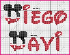 alfabeto mickey ponto cruz - Pesquisa Google