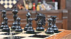 Designed to delight! Grab your statement piece today! Up to 50% Off Sitewide Shop Now--> http://www.chessbazaar.com/the-admiral-series-ii-staunton-chess-pieces-in-ebony-wood-box-wood-4-5-king.html