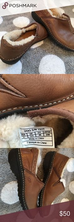 UGG Australia Bettey S/N 1928 Leather Slip-on Product details  UGG Australia Bettey S/N 1928 Women's US 7 Brown Leather Slip-on Shoes very good condition upper pebbled leather lining leather and sheepskin UGG Shoes Slippers