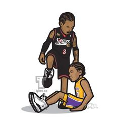 """Allen Iverson """"Legendary Moment"""" Tyke. It was a big night. Game 1 of the 2001 NBA Finals that pitted a seemingly invincible Lakers squad featuring the dynamic duo of Shaq & Kobe against the pound-for-pound toughest player in the league, Allen Iverson. And while A.I. had perhaps his greatest game to the tune of 48 points to go with six assists and five steals, and leading the Sixers to a shocking upset, it was one defining moment that summed it all up. Iverson infamously crossed-up Lakers…"""