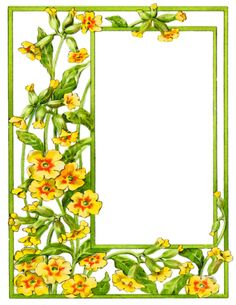 card frame yellow flowers - /page_frames/floral/card_frame_yellow_flowers. Blooming Flowers, Summer Flowers, Public Domain Clip Art, Printable Frames, Photo Frame Design, Deco Floral, Borders And Frames, Flowering Vines, Flowers Nature