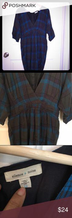 Anthropologie Plaid deep V neck dress size 12 Silence + Noise dress very good condition silence + noise Dresses Mini