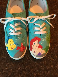 b787b19820bf Little Mermaid hand painted shoes Little Mermaid Shoes