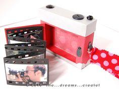 Genial and gorgeous (mini in a paper camera) Paper Camera, Camera Cards, Mini Albums Scrap, Mini Scrapbook Albums, Tarjetas Diy, Diy And Crafts, Paper Crafts, Diy Photo, Diy Birthday
