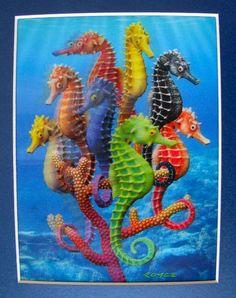 SEAHORSE AMAZING LENTICULAR 3-D HOLOGRAM ART PICTURE