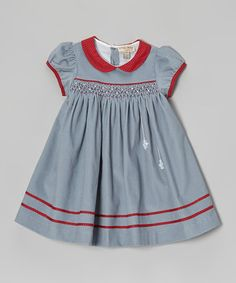 Take a look at this Gray & Red Snowflake Smocked Dress - Infant & Toddler by P'tite Môm on #zulily today!