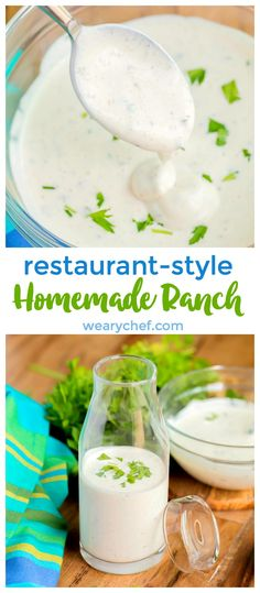 This restaurant-style homemade ranch dressing is thick, rich, and creamy. Perfec… This restaurant-style homemade ranch dressing is thick, rich, and creamy. Perfect for dipping or salads! Restaurant Ranch Dressing, Ranch Dressing Chicken, Buttermilk Ranch Dressing, Ranch Salad Dressing, Homemade Ranch Dressing, Salad Dressing Recipes, Taco Time Ranch Dressing Recipe, Restaurant Ranch Recipe, Creamy Ranch Dressing Recipe