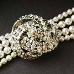 Pearl Cuff Bracelet, Art Deco Wedding Jewelry, Crystals and Pearl, Rhinestone Bracelet, LOIS Collection.