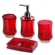 JustNile 4 Piece Elegant Luxurious Translucent Red Bathroom Accessory Set for sale online Black Bathroom Sets, Red Bathroom Decor, Red Bathroom Accessories, Black White Bathrooms, Art Deco Bathroom, Bathroom Ideas, Design Bathroom, Bedroom Decor, Floral Bath