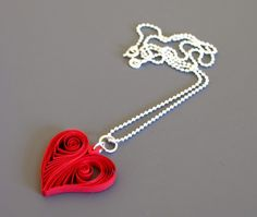 Quilled Heart Pendant - paper jewelry by Ann Martin
