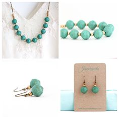 Bright, bold turquoise beads are expertly strung together onto a brass chain and accented with gold etched beads. The little vintage gold beads add a particularly glamorous touch to an otherwise groun