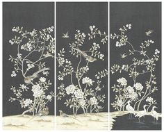 """Kew Garden Charcoal - make into a screen?  This Chinoiserie set has a Charcoal background with Gardenia white design. Available in Large size (each panel 36"""" wide x 8' high) Medium Size (24"""" wide panels x 6' high). Printed textured wall paper."""