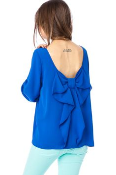 ShopSosie Style : Coletta Bow Blouse in Royal