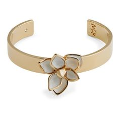 Maria Francesca Pepe Flower/Studded Thin Cuff - Gold/White ($66) ❤ liked on Polyvore featuring jewelry, bracelets, accessories, joyas, white gold jewelry, flower jewelry, thin gold bangles, white gold bangle and flower jewellery