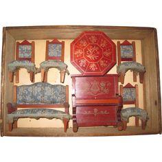 German dolls' house sitting room set - original box