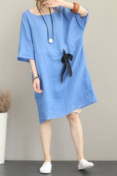 Fabric: Fabric has no stretchSeason: SummerType: Dress Sleeve Length: Short Color: Blue,Khaki Material: LinenDresses Length: Knee length Style: Casual Neck Type: Round Neck Silhouette: Loose Size: cm cm cm Sewing Dresses For Women, Casual Dresses For Women, Casual Clothes, Clothes For Women, Dress Sewing, Estilo Jeans, Beachwear Fashion, Linen Dresses, Baby Boys