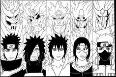 Susanoo - Uchiha (Shisui, Madara, Sasuke, Itachi) and Hatake Kakashi Anime Naruto, Naruto Shippuden Sasuke, Madara Uchiha, Susanoo Naruto, Sasuke And Itachi, Naruto Art, Manga Anime, Naruto Tattoo, Naruto Drawings