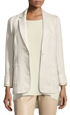 Shop Now - >  https://api.shopstyle.com/action/apiVisitRetailer?id=626916489&pid=uid6996-25233114-59 Lafayette 148 New York Alba Havana Herringbone Linen Blazer, Light Beige  ...