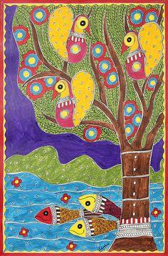 Colorful Madhubani Folk Art Painting from Indian Artist - Celebration of Life | NOVICA