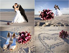 Love the bouquet and heart in the sand one