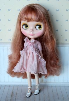 https://flic.kr/p/GFUDNu | Romantic Spring dresses for Blythe girls heart emoticon In Aqua, Grey, Pink and White | @powderpuffdolls