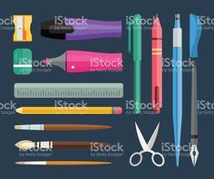 Flat stationery and drawing tools, pen set royalty-free stock vector art Pen Sets, Free Vector Art, Drawing Tools, Paint Brushes, Image Now, Royalty, Stationery, Felt, Drawings