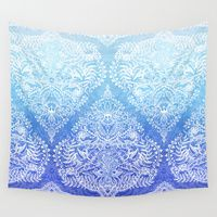 Wall Tapestries featuring Out of the Blue - White Lace Doodle in Ombre Aqua and Cobalt by micklyn